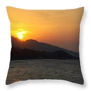 Sunset Over Samos Throw Pillow