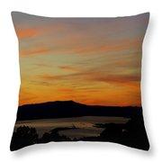 Sunset Over San Francisco Bay And Mount Tamalpais Throw Pillow