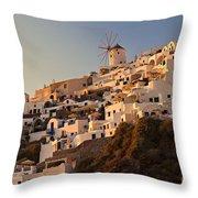 Sunset Over Santorini Village Throw Pillow