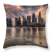 Sunset Over Singapore Skyline Throw Pillow
