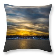 Sunset Over Snow Covered Village Throw Pillow