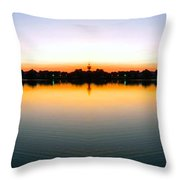 Sunset Over Still Waters Mirror Image Throw Pillow