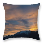 Sunset Over The Alps Throw Pillow