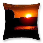 Sunset Over The Barn Throw Pillow