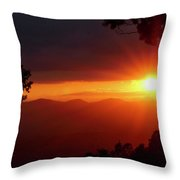 Sunset Over The Blue Ridge Mountains Throw Pillow