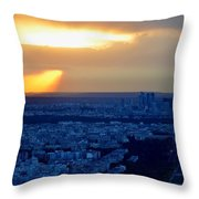 Sunset Over The Eiffel Tower Throw Pillow