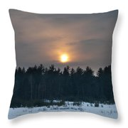 Sunset Over  The Forest Throw Pillow