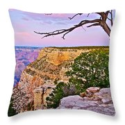 Sunset Over The Grand Canyon From South Rim Trail In Grand Canyon National Park-arizona   Throw Pillow