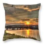 Sunset Over The Great Falls Throw Pillow