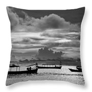Sunset Over The Gulf Of Thailand Black And White Throw Pillow