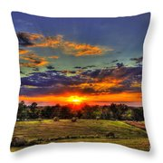 Sunset Over The Hay Field Throw Pillow