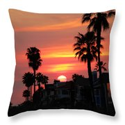 Sunset Over The Homes Of Newport Beach Throw Pillow