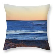 Sunset Over The Ice Throw Pillow