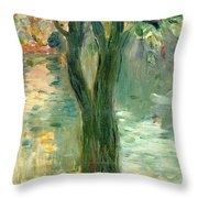 Sunset Over The Lake Bois De Boulogne Throw Pillow