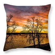Sunset Over The Mississippi River Throw Pillow