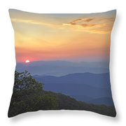 Sunset Over The Pisgah National Forest Throw Pillow