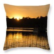 Sunset Over The Pontoon 4 Throw Pillow