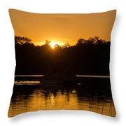 Sunset Over The Pontoon Throw Pillow
