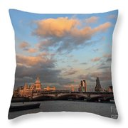 Sunset Over The River Thames London Throw Pillow