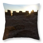 Sunset Over The Sand Castle 4 Throw Pillow