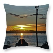 Sunset Over The Solent Throw Pillow
