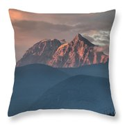 Sunset Over The Tantalus Mountains In Squamish Throw Pillow