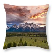 Sunset Over The Tetons  Throw Pillow