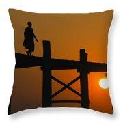 Sunset Over The U Bein Foot Bridge Throw Pillow
