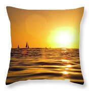 Sunset Over The Water In Waikiki Throw Pillow