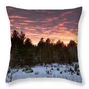 Sunset Over The Winter Forest Throw Pillow