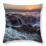 Sunset Over Thor's Well Along Oregon Coast Throw Pillow