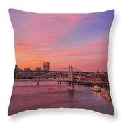 Sunset Over Tilikum Crossing Throw Pillow