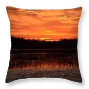 Sunset Over Tiny Marsh Throw Pillow