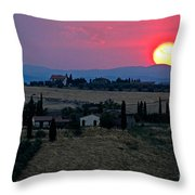 Sunset Over Tuscany In Italy Throw Pillow