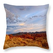 Sunset Over Valley Of Fire State Park In Nevada Throw Pillow
