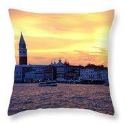 Sunset Over Venice Throw Pillow