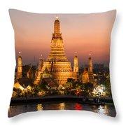 Sunset Over Wat Arun Temple - Bangkok Throw Pillow