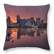 Sunset Over Willamette River Along Portland Waterfront Throw Pillow