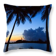 Sunset Overlooking Jupiter Lighthouse Throw Pillow