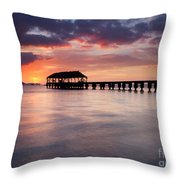 Sunset Pier Throw Pillow by Mike  Dawson