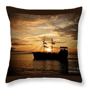 Sunset Pirate Cruise Throw Pillow