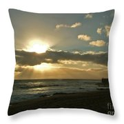 Sunset Porthleven Cornwall Summer 2005 Throw Pillow