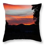 Sunset Rail In The Rogue Valley Throw Pillow
