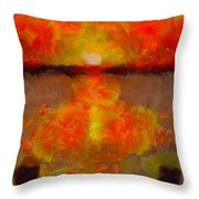 Sunset Reflections On The Dock Throw Pillow