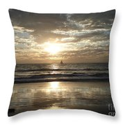 Sunset Sail Throw Pillow by Crystal Joy Photography