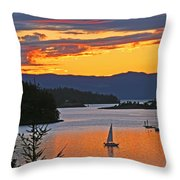 Sunset Sail In The Bay Throw Pillow