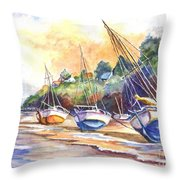 Sunset Sail On Brittany Beach  Throw Pillow