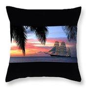 Sunset Sailboat Filtered Throw Pillow