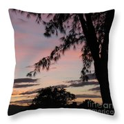 Sunset Sainte Marie-reunion Island-indian Ocean Throw Pillow by Francoise Leandre