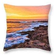 Sunset Shore Break Throw Pillow